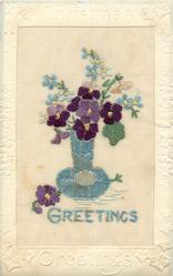CHRISTMAS GREETINGS  silk blue GREETINGS, blue vase with violets, forget-me-nots & snowdrops, one violet & bud on floor