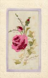 CHRISTMAS GREETINGS  silk red/pink rose & bud, white flowers & green leaves around