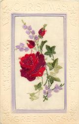 CHRISTMAS GREETINGS  silk red rose & two buds, some green leaves and purple flowers around