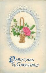CHRISTMAS GREETINGS  wicker basket with handle, pink rose right, white flower left, one right