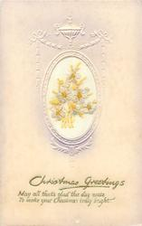 CHRISTMAS GREETINGS  in gilt, white flowers with yellow stalks & middle