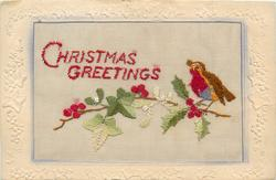 CHRISTMAS GREETINGS  in red, bird right on holly branch