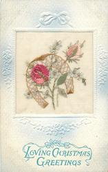 LOVING CHRISTMAS GREETINGS  rose, bud, forget-me-nots, horseshoe