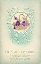CHRISTMAS GREETINGS  wicker basket inset with violets