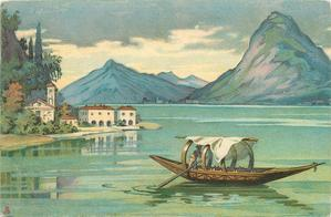 boat in  foreground on green water, white houses along shore and distant blue mountains