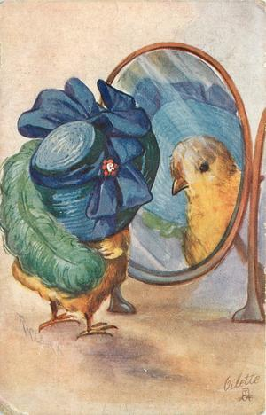 chick with enormous hat and ostrich feather looks in mirror