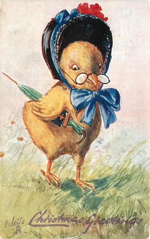 chick in bonnet tied on with blue bow carries umbrella & book under wing, wears glasses