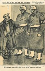"""WOTCHER, ME OLE CHUM - WHERE'S THE WEDDING?""  two large military policemen interview a cockney  u.s. forces in London, ww II"