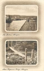 2 panels THE HARBOUR, ABERAYRON and AERON SUSPENSION BRIDGE, ABERAYRON
