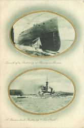 "2 insets LAUNCH OF A BATTLESHIP AT BARROW-IN-FURNESS and A BARROW-BUILT BATTLESHIP ""SAO PAULO"""