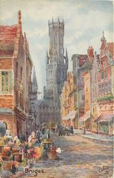 street scene, tall church in center, baskets of flowers on lower left on back:- THIS ONCE WEALTHY AND FAMOUS CITY...