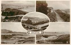 5 insets SUMMERLEAZE BEACH and THE CANAL and OLD BRIDGE AND CASTLE and THE BREAKWATER and SAND DUNES AND BREAKWATER