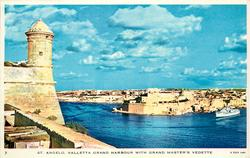 ST. ANGELO, VALLETTA GRAND HARBOUR WITH GRAND MASTER'S VEDETTE
