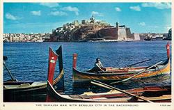 THE DGHAJSA MAN, WITH SENGLEA CITY IN THE BACKGROUND