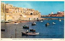 SPINOLA FISHING HAMLET WITH SLIEMA TOWER IN BACKGROUND