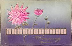 WISHING-YOU-A-JOYFUL CHRISTMAS applique of pink chrysanthemums and ribbon