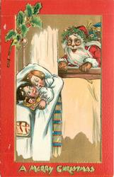 A MERRY CHRISTMAS  at bottom, Santa looks through window at two sleeping children