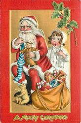 A MERRY CHRISTMAS  at bottom, Santa sits with many toys, amazed girl behind