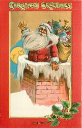 CHRISTMAS GREETINGS  Santa half-way down chimney, sack of toys, moon behind left