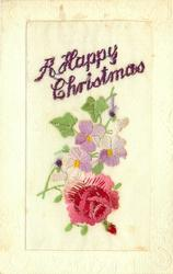 A HAPPY CHRISTMAS  in purple, pink/red rose & bud below, white/pink violets
