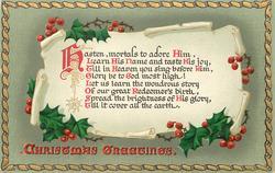 CHRISTMAS GREETINGS HASTEN, MORTALS....