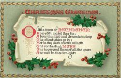 CHRISTMAS GREETINGS  O LITTLE TOWN....