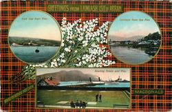 3 insets  EAST BAY FROM PIER and LAMLASH FROM THE PIER and BOWLING GREEN AND PIER; MACDONALD  tartan