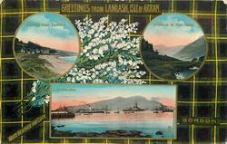 3 insets  GENERAL VIEW, LAMLASH and ENTRANCE TO GLEN ROSA and IN THE BAY; GORDON  tartan