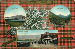 3 insets  IN THE BAY and GLEN ROSA and LAMLASH VILLAGE; STEWART ROYAL  tartan