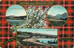 3 insets  LAMLASH BAY FROM PIER and GLEN SENNOX and LAMLASH VILLAGE; MACPHERSON  tartan