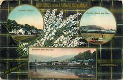 3 insets  LAMLASH VILLAGE and BOWLING GREEN AND PIER and LAMLASH FROM THE PIER; CAMPBELL  tartan