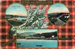 3 insets  LAMLASH VILLAGE and CORDON and LAMLASH BAY FROM PIER; FRASER  tartan