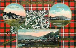 3 insets  LAMLASH VILLAGE and LAMLASH PIER and LAMLASH HOTEL AND VILLAGE; CAMERON  tartan