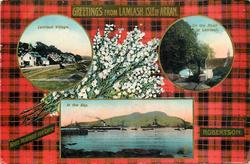 3 insets  LAMLASH VILLAGE and ON THE ROAD TO LAMLASH and IN THE BAY; ROBERTSON  tartan