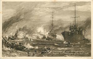 DESTRUCTION OF FOUR GERMAN TORPEDO BOAT DESTROYERS OFF THE DUTCH COAST.