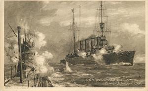 H.M.S.BIRMINGHAM SINKING GERMAN SUBMARINE U 151