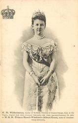 H.M. WILHELMINA, QUEEN OF HOLLAND, PRINCESS OF NASSAU ORANGE, BORN AT THE HAGUE, AUGUST 31ST. 1880, CROWNED/DUKE OF MECKLEMBOURG-SCHWERIN