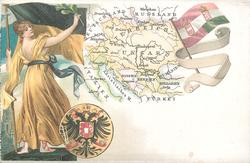map, flag, crest & woman of Austria & Hungary