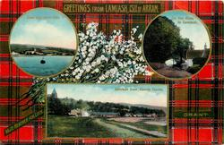 3 insets  EAST BAY FROM PIER and ON THE ROAD TO LAMLASH and LAMLASH FROM TENNIS COURTS; GRANT  tartan