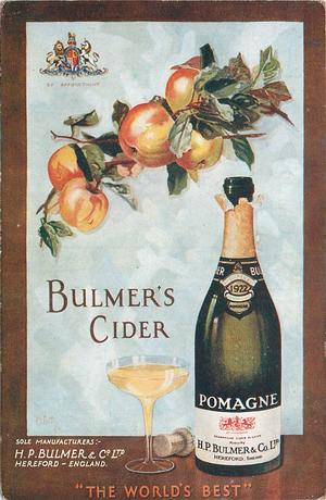 "BULMER'S CIDER, ""THE WORLD'S BEST""  apples, bottle 0f cider. glass of cider"