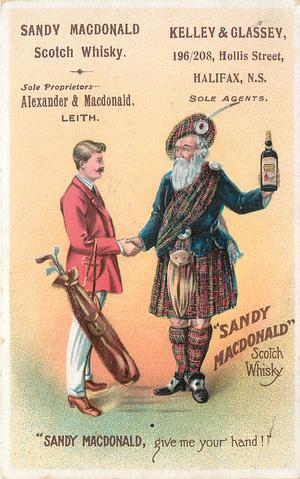 """"""" SANDY MACDONALD"""" GIVE ME YOUR HAND! man in traditional dress holds up bottle whilst shaking hands with man holding golf bag"""
