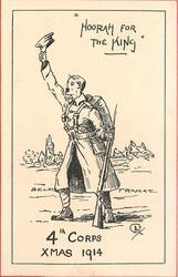 """""""HOORAH FOR THE KING"""" soldier stands waving his cap between BELGIUM & FRANCE"""