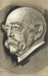 FURST OTTO VON BISMARCK close portrait, he faces and looks left