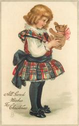 ALL GOOD WISHES FOR CHRISTMAS  girl faces right and holds teddy-bear with both hands