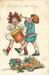 CHRISTMAS GREETINGS. boy bugles & girl drums walking left