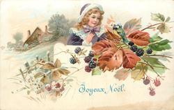 JOYEUX NOEL blue tit, perched on blackberry brambles, delivers tiny envelope to girl