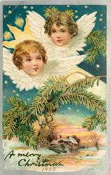 A MERRY CHRISTMAS  two angel heads above, watermill below
