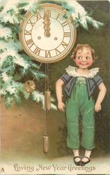 LOVING NEW YEAR GREETINGS  boy in green suit with grey top stands to right of clock