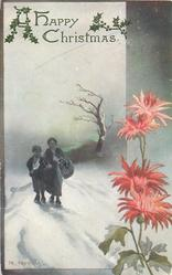 A HAPPY CHRISTMAS or A HAPPY CHRISTMAS TO YOU  woman & boy walking in snow, red mums on right