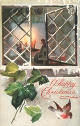 A HAPPY CHRISTMAS  right pane of window open, two people sitting by fire, ivy & robin below
